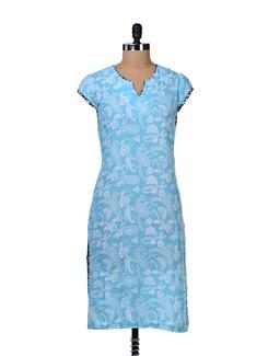 Paisley Print Blue Kurta - Tops And Tunics