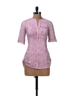 Pink & Gold Pleated Short Kurta - Cotton Curio