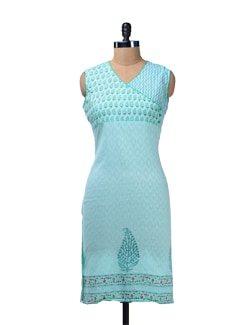Sea Green Printed Angrakha Kurta - Cotton Curio