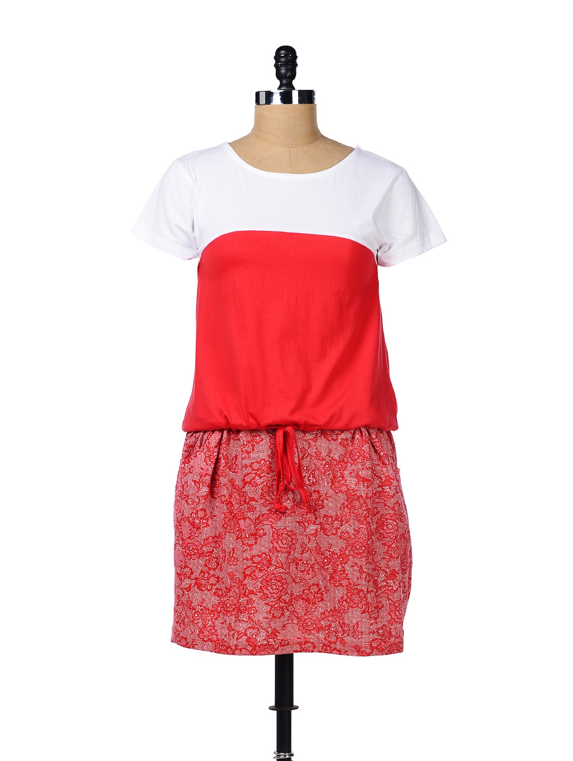 Red And White Printed Dress - GRITSTONES