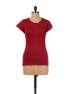Basic Cotton Maroon Top - GRITSTONES