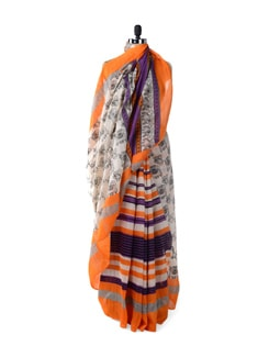 Orange And Purple Madhubani Print Saree - ROOP KASHISH