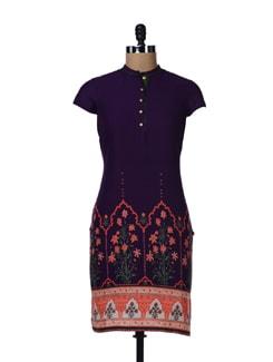Purple Printed Cotton Kurta - W
