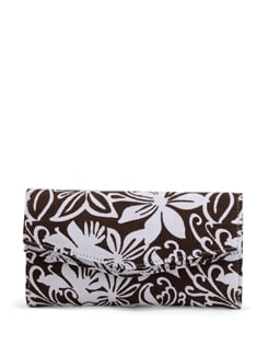 Brown & White Floral Printed Clutch Bag - SUNNY ACCESSORY