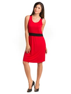 Red Black Color Block Dress - PrettySecrets