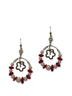 Red & White Ethnic Hoops - Ivory Tag