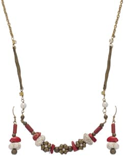 Delicate Gold Floral Necklace Set - Ivory Tag