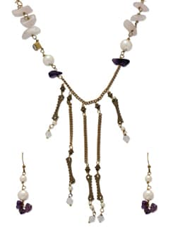 Elegant Purple & Gold Jewellery Set - Ivory Tag