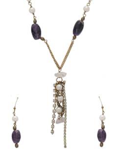 Fancy Purple & Gold Jewellery Set - Ivory Tag
