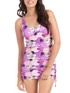 Purple Hawaiian Bouquet Swimdress - PrettySecrets