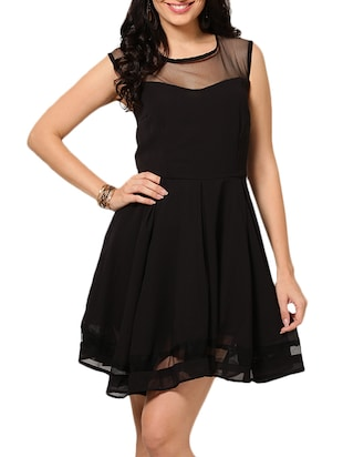 Sleeveless Black Mesh Dress