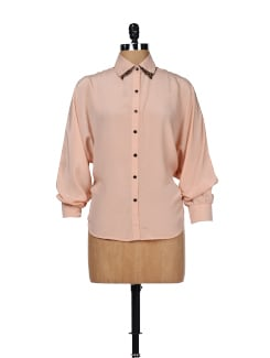 Tan Pink Animal Print Collar Shirt - Besiva