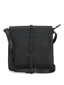 Black Crocodile Skin Cross Body Bag - Tamarind