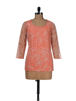 Orange Net  Embroidered Top - LY2