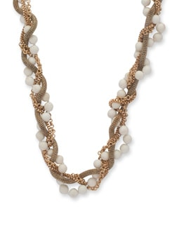 Gold Twisted Chain Howlite Necklace - Ivory Tag