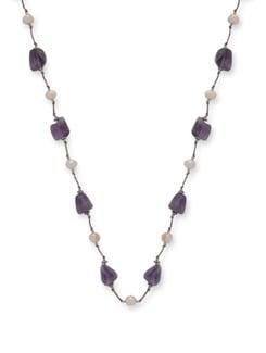 Elegant Amethyst & Pearl Necklace - Ivory Tag
