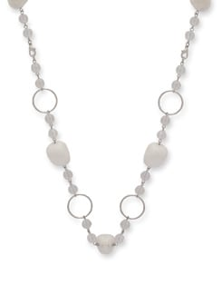 White Agate Ring Necklace - Ivory Tag