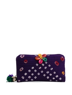 Quilted Purple Bandhani Wallet - The House Of Tara