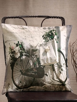 Bicycle With Flowers Print Cushion Cover - Veva's