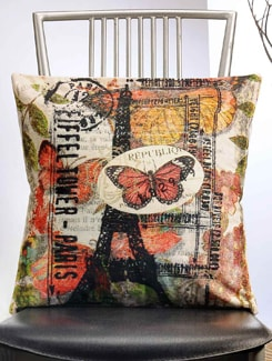 Butterfly And Eiffel Tower Print Cushion Cover - Veva's