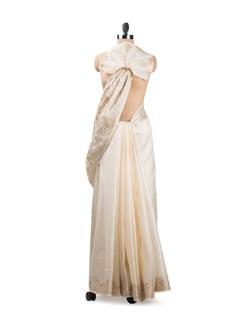 White Tussar Silk Saree With Border - Seasons By Surekha