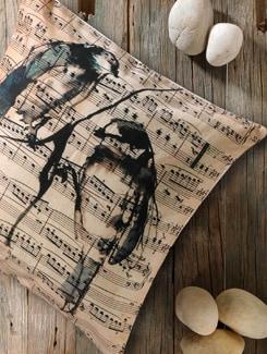 Bird And Song Lyrics Print Cushion Cover - Veva's