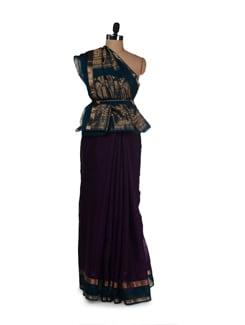Designer Dark Purple Cotton Silk Saree - Aryaneel