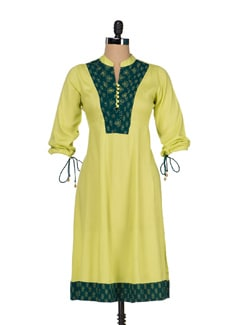 Lime Green Kalidar Kurta - JUNIPER