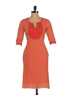 Embellished Orange Kurta - JUNIPER