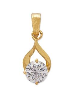 Gold Pendant With Big White Crystal - Mahi