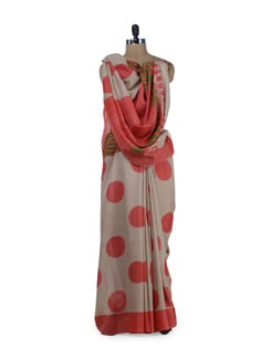 Ethnic Beige & Orange Polka Saree - Sakrip