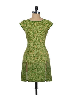 Floral Green Kurta With Front Slit - ENAH