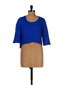 Blue Stylish Cropped Top - Femella