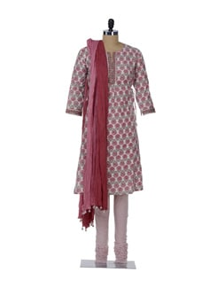 Designer Red & Green Floral Suit - KILOL