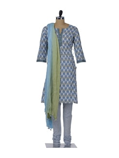 Designer Blue & Green Floral Suit - KILOL