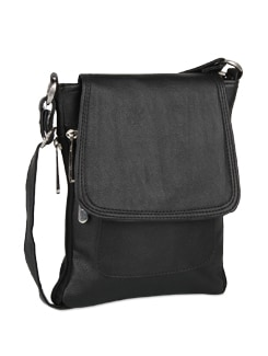 Classic Black Leather Sling Bag - ALESSIA