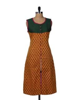 Mustard & Green Front-Open Designer Kurta - Varan