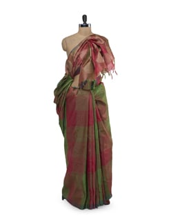 Red-Green Checked Saree - Saboo