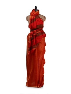 Traditional Orange Silk Saree - Saboo