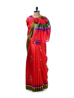 Bright Red Floral Silk Saree - Saboo