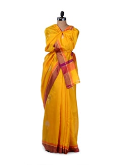 Bright Yellow Floral Silk Saree - Saboo