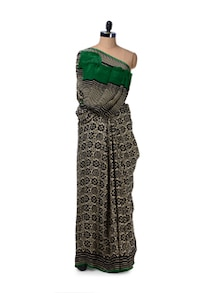 Simplistic Black & White Printed Saree - Saboo