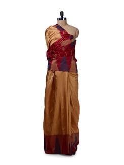 Designer Gold & Maroon Silk Saree - Saboo