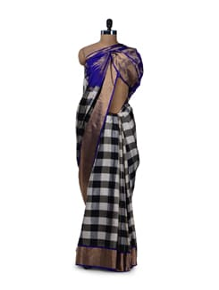 Black & White Checked Saree - Saboo