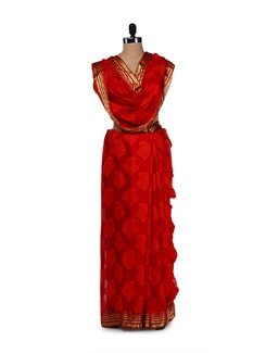 Designer Red & Gold Silk Saree - Saboo