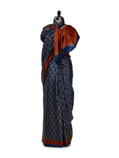 Blue & Brown Printed Silk Saree - Saboo
