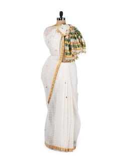 White & Yellow Gari Style Saree - MAKU