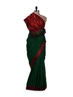 Traditional Green & Red Floral Saree - MAKU