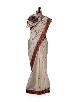 Traditional Beige-Maroon Silk Saree - MAKU