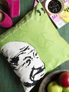 Mahatma Gandhi Print Cusion Cover - HOUSE THIS